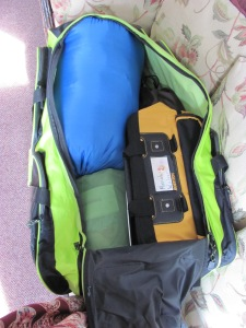Fit my tent, sleeping pad, and sleeping bag into the duffel but there's not room for much more!