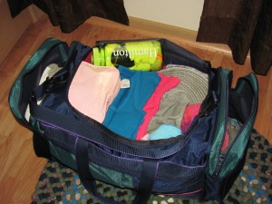 The second duffel bag mostly packed