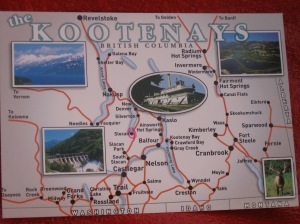 Map of the Kootenay region; I circled Slocan in pink if you can find it (hint: it's near the center)