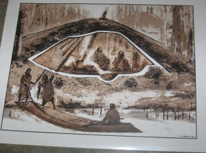 A reconstruction of a pithouse by archaeologist and artist Eric Carlson