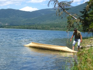 Harry with his sturgeon-nosed canoe, built in the traditional style but with non-traditional materials.