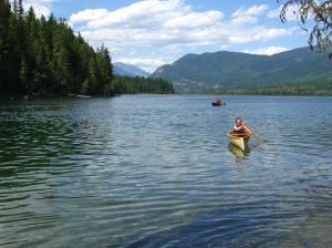 Though a little tippy at first, the canoe glides nicely through the water.