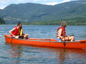 (Maddy and Max took over the safety canoe... party canoe?)