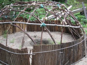 A partially constructed sweat lodge.