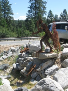 An amazing sculpture at the gas station we frequently stopped at in Kettle Falls, Washington of a Native American salmon fishing