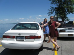 Jennie and Emma waiting for the ferry to take us across Lake Champlain